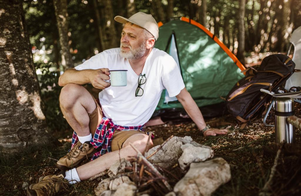 Męski wypad pod namiot